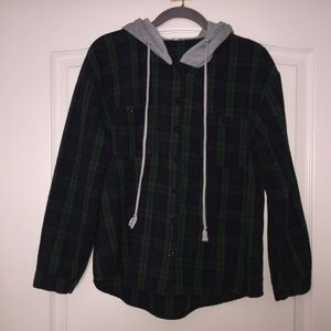 Hooded button Up Flannel Shirt